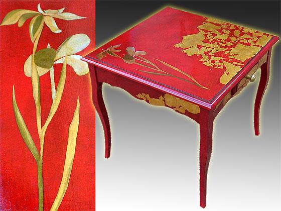 meuble peint bout de canap travaill la feuille d 39 or. Black Bedroom Furniture Sets. Home Design Ideas