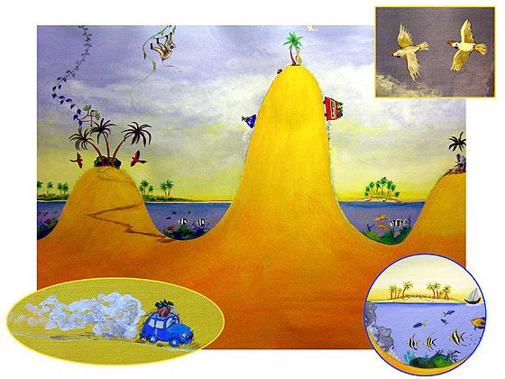 Peinture murale une toile pour chambre d 39 enfant for Peinture chambre d enfant