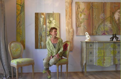 Atelier du liseron meuble peint d coration int rieure for Peinture decorative meuble bois